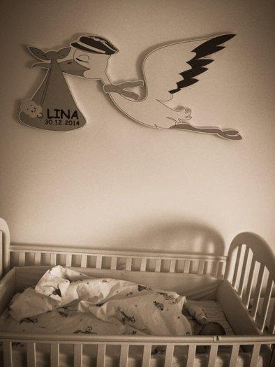 leteča štorklja ob rojstvu za lino